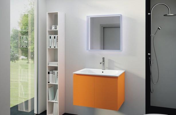 Gelbe Badezimmermöbel